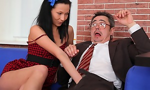 Kristina is a down in the mouth student who will suck her teachers cock for a better grade.